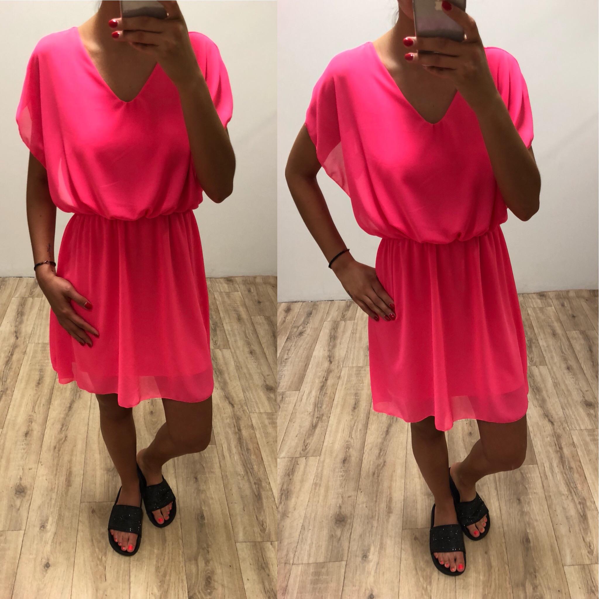 Dámské neonově růžové letní šaty  925f6df97b